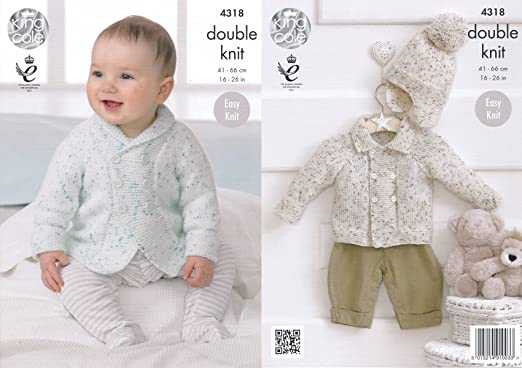 KNITTING PATTERN Baby Long Sleeve Round Neck Lace Hem Jumpers DK King Cole 4395