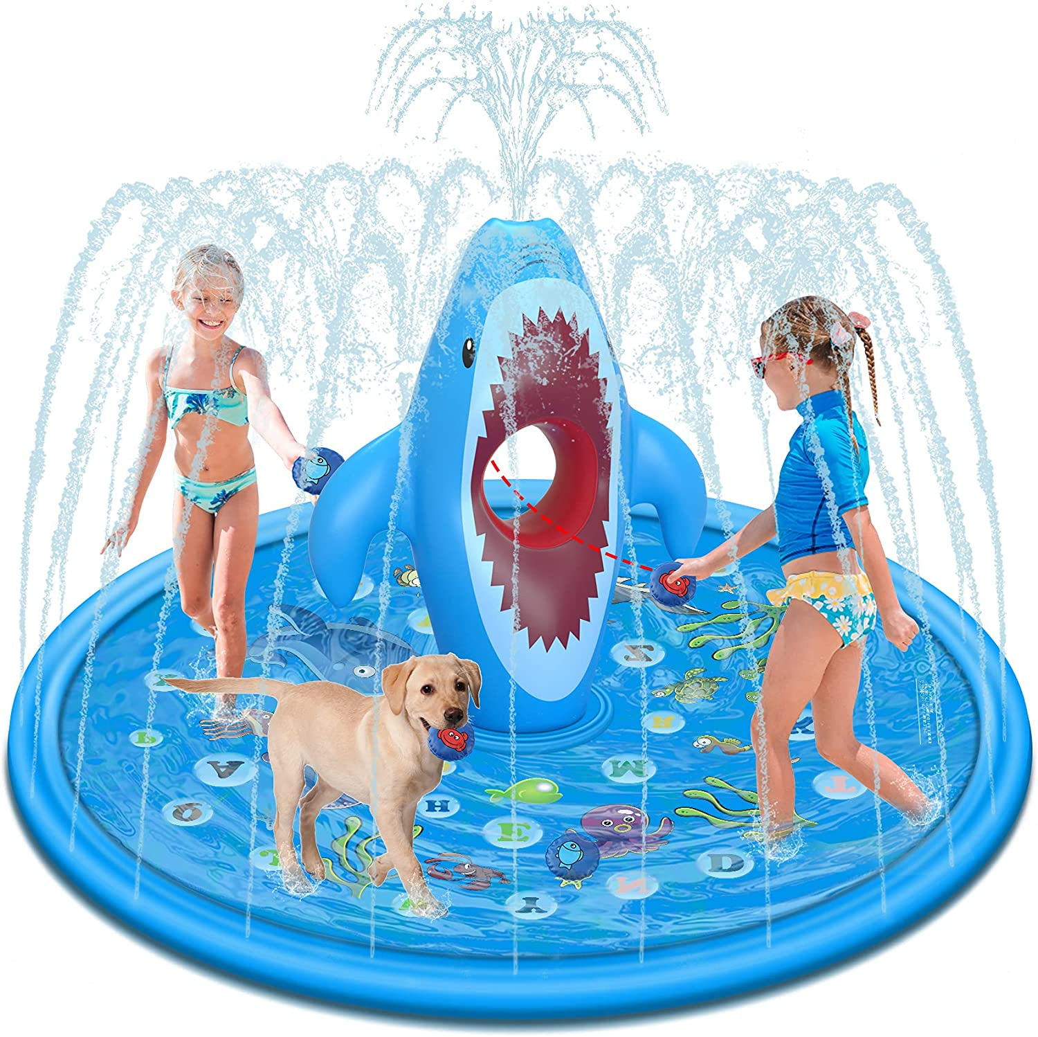"""Tobeape Splash Pad Sprinkler for Kids, Outdoor Water Play Mat with Sandbags Fun Game, """"from A to Z"""" Wading Pool for Learning, Inflatable Summer Gifts for Babies Toddlers Boys Girls"""