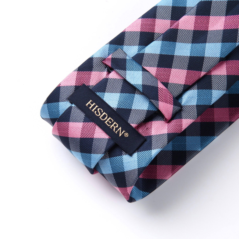 HISDERN Plaid Tie Handkerchief Woven Classic Stripe Mens Necktie /& Pocket Square Set