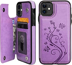 Vaburs iPhone 11 Case Wallet with Card Holder, Embossed Butterfly Premium PU Leather Double Magnetic Buttons Flip Shockproof Protective Cover for iPhone 11 6.1 Inch(Purple)