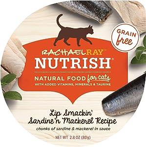 Rachael Ray Nutrish Natural Wet Cat Food, Lip Smackin' Sardine 'n Mackerel Recipe, 2.8 Ounce Cup (Pack of 24), Grain Free