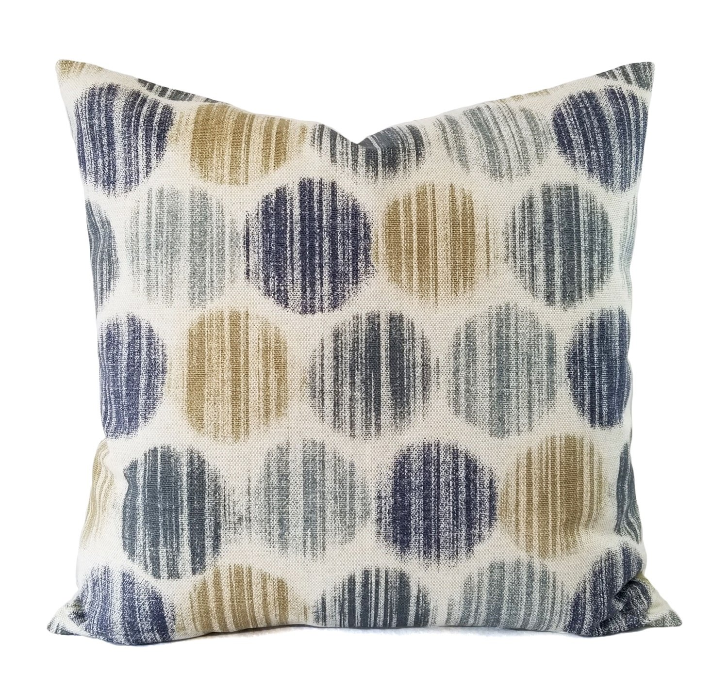 Blue and Brown Pillow Cover - Polka Dot Pillow - Custom Pillow Sham - Decorative Pillow Case - 16 x 16 Inch 18 x 18 Inch 20 x 20 Inch Throw Pillow Lumbar Pillow Euro Sham