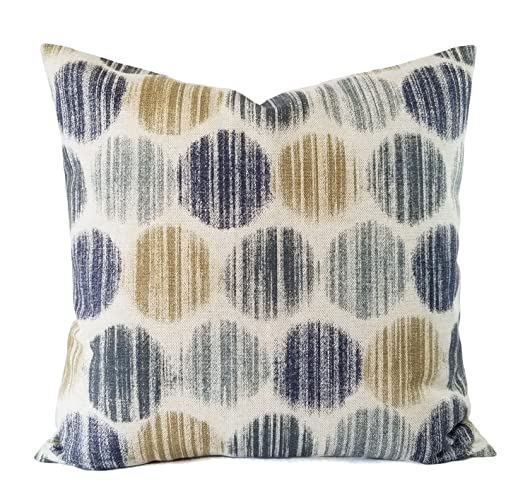 Amazoncom Blue And Brown Pillow Cover Polka Dot Pillow Custom