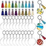 Fuyit Acrylic Keychain Blanks, 100Pcs Clear Acrylic Circle Disc Includes 20Pcs Round Acrylic Blanks(2 Inch), 20Pcs Tassels, 2