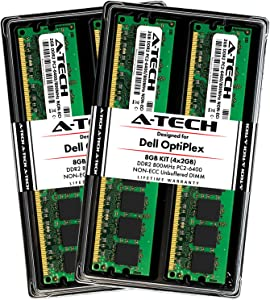 A-Tech 8GB (4X 2GB) Memory RAM Kit for Dell OptiPlex 960, 760, 755 (MT, DT, SFF) - DDR2 800MHz PC2-6400 Non-ECC DIMM Upgrade
