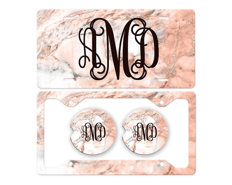 Custom Car Tag for Women Car Coasters Marble License Plate Marble Coasters License Plate Frame