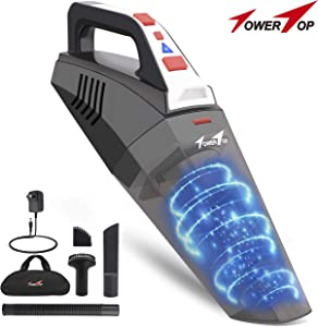 TowerTop Cordless Handheld Vacuum, Car Vacuum Cleaner Rechargeable, Portable Hand Vacuum Wet Dry Vacuum for Home Pet Hair Car Cleaning