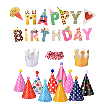 webo happy birthday letter cartoon stripes solid pennant banner paper flags and party hat for birthdays