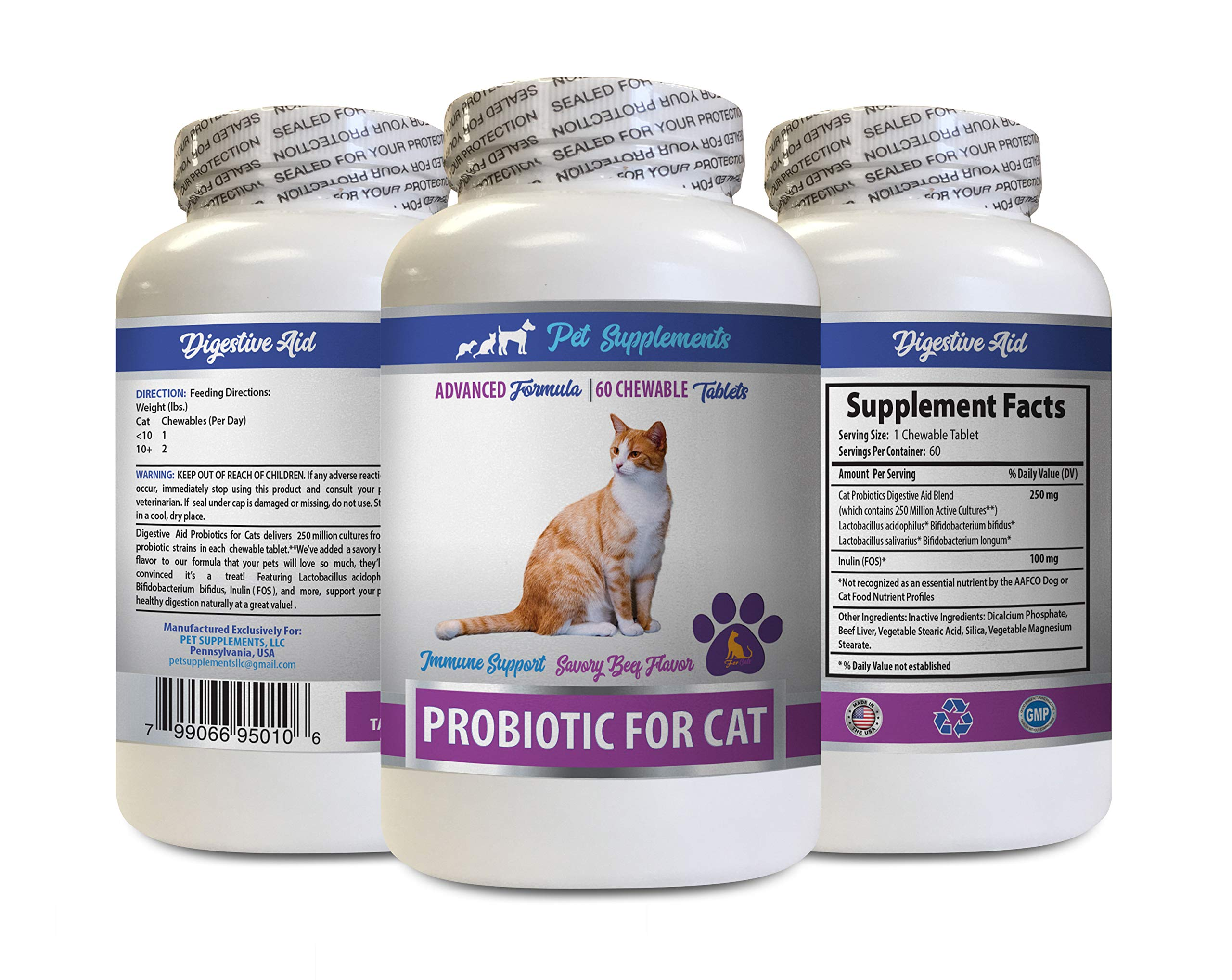 PET SUPPLEMENTS cat Bad Breath Treats - CAT PROBIOTIS - Immune Support - Savory Beef Flavor - Natural Formula - Best probiotics for Cats - 1 Bottle (60 Treats) by PET SUPPLEMENTS