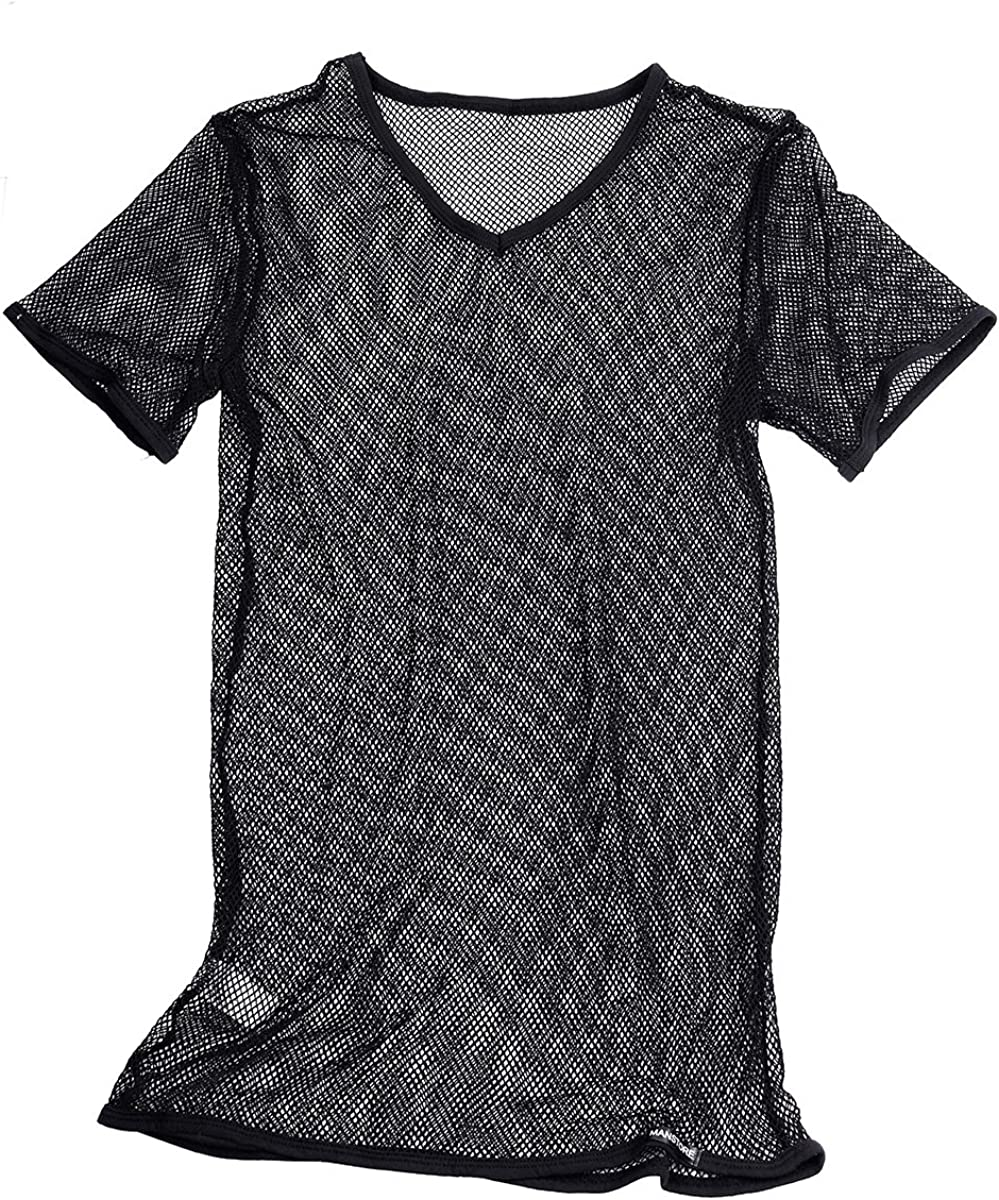 inhzoy Mens Fishnet Mesh See Through T-Shirt Muscle Vest Sport Tank Top Undershirt