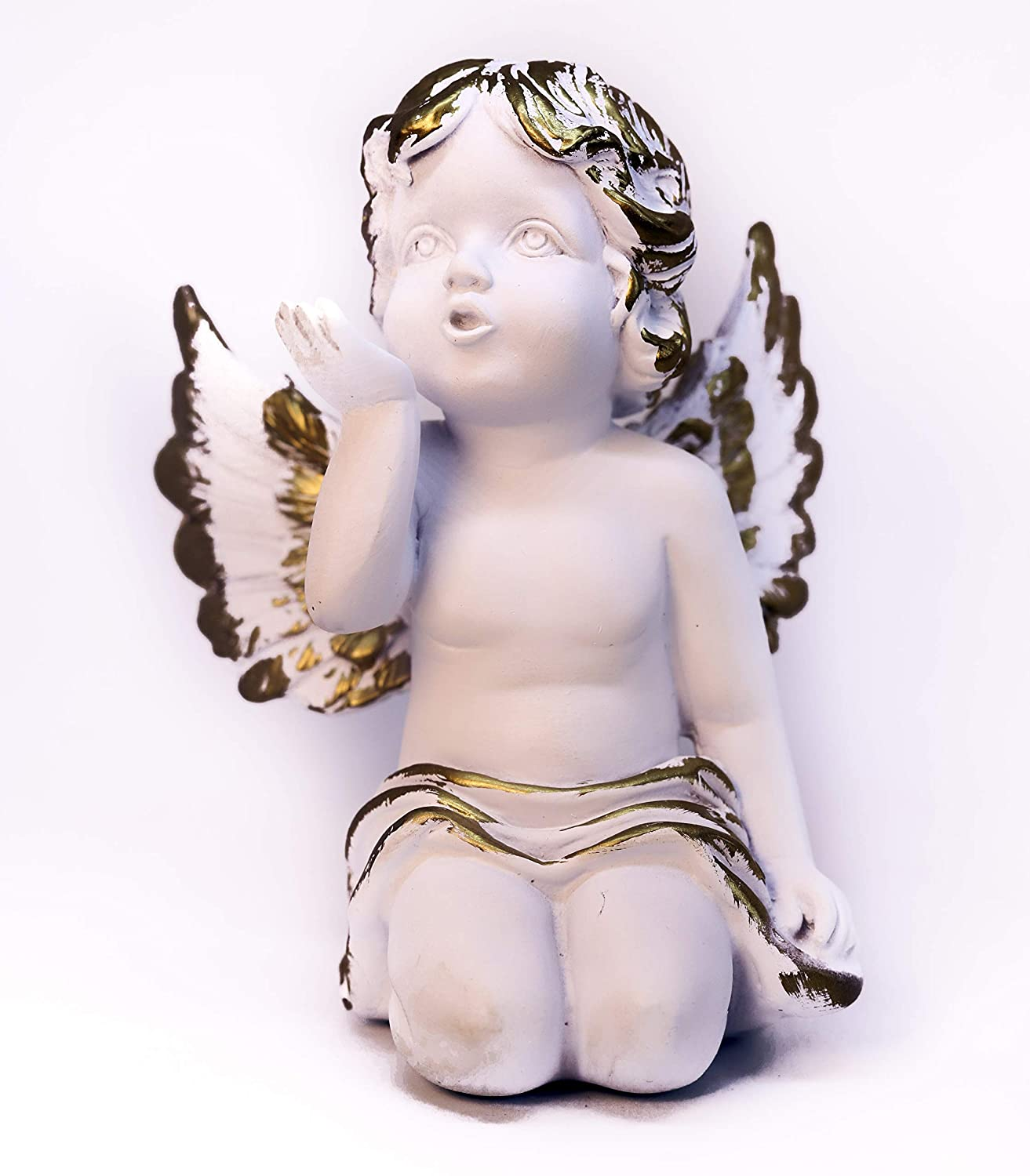Angelo Sette - Miniature White Angel Statue - Baby Angel Sending The Air Kiss - Inspired by Classic Italian Statues - Decorative Indoor Gift for Home – Perfect Art Gift for Anyone