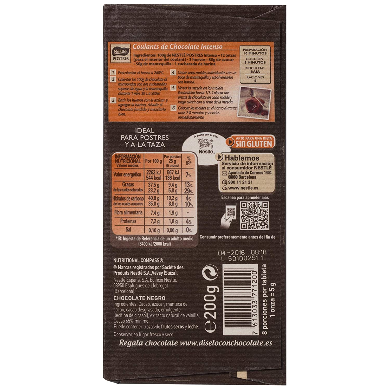 Nestlé Postres Tableta De Chocolate Intenso - 200 g: Amazon.es: Amazon Pantry