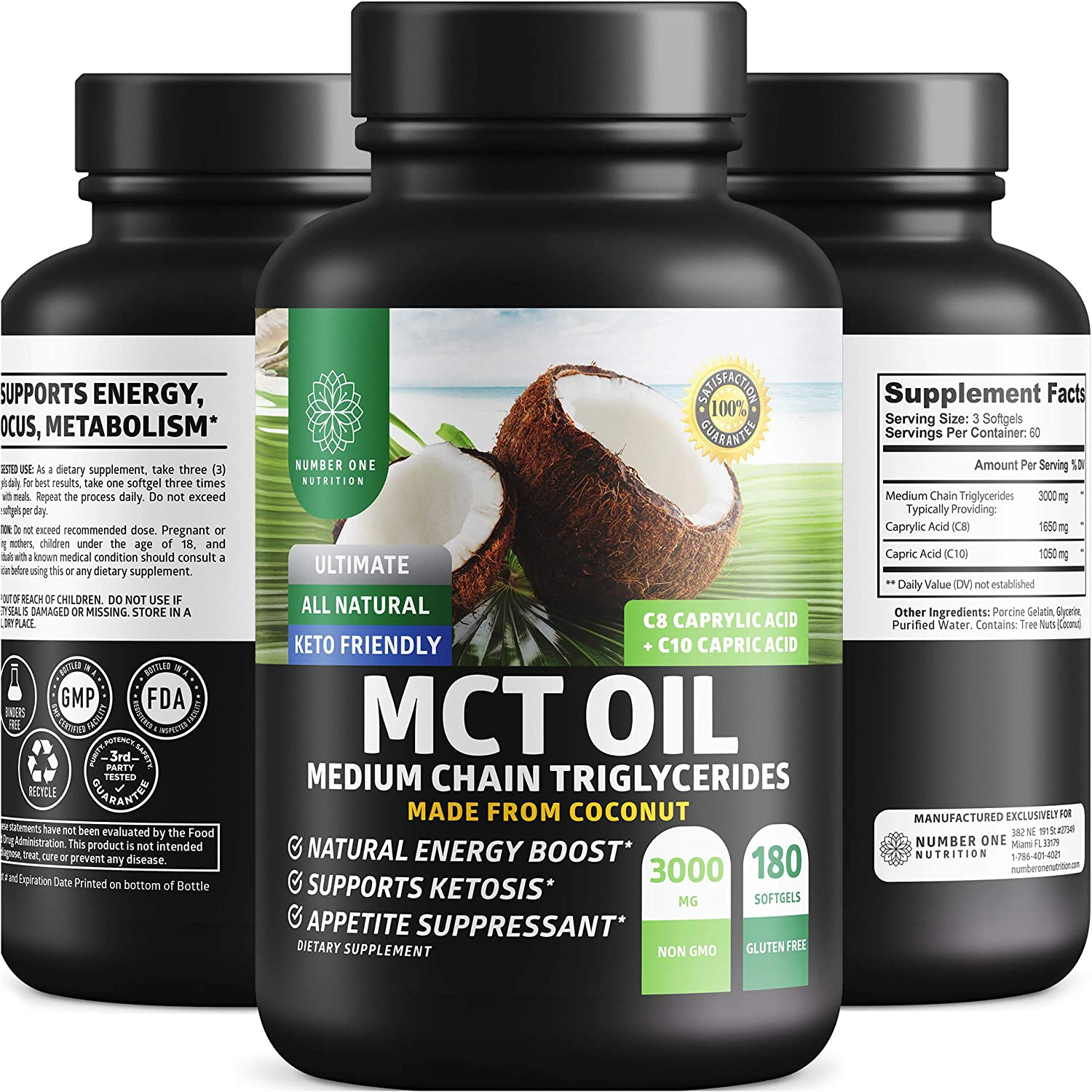 Number One Nutrition MCT Oil Softgels