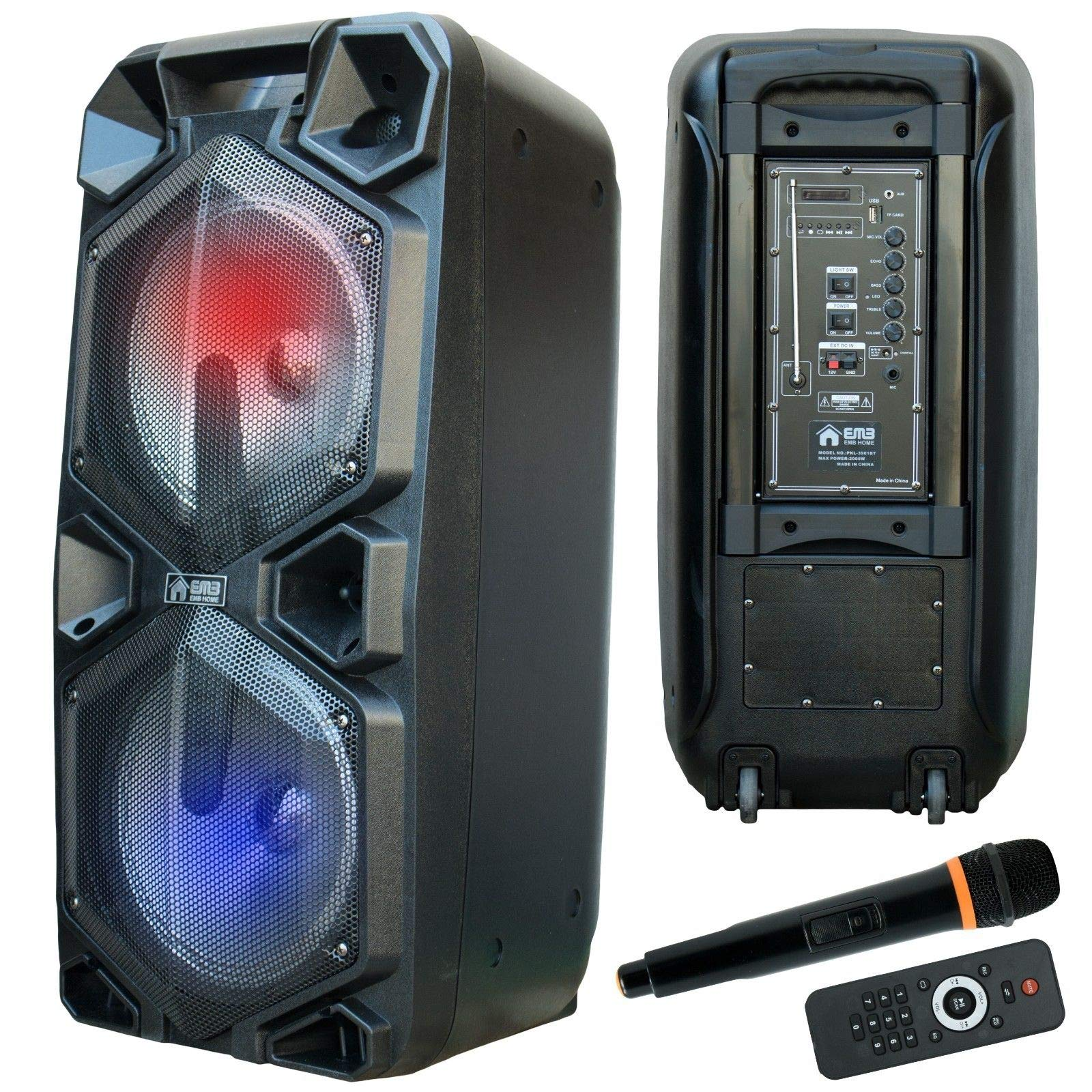 EMB PKL3901BT 2000 Watts Rechargeable PA Speaker w/Bluetooth, Light, Echo + Remote Control