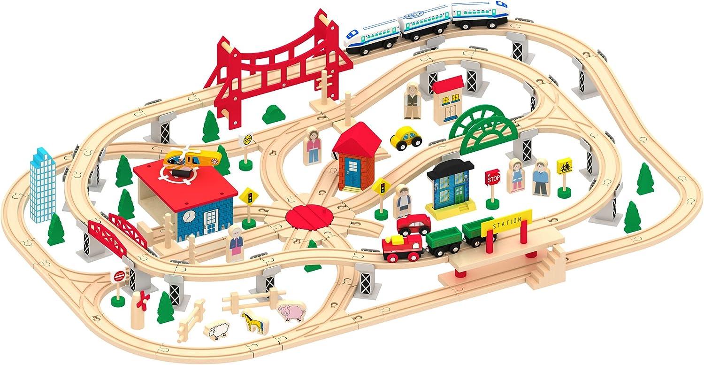 Leomark Deluxe Tren De Madera Set Circuito Tren de Juguete Ferrocarril Casas Árboles Coches Personaje 130 Piezas Diseño De Vía Del Tren Muchos Accesorios Pueblo Cola de Ferrocarril Tren de Carga de Pa