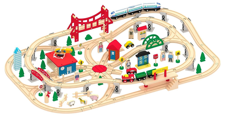 Jeu De Train En Bois 130 Pi Ces Circuit De Train Locomotive  ~ Locomotive A Pile Pour Train En Bois