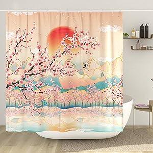 DESIHOM Japanese Shower Curtain Asian Art Mountain Shower Curtain Anime Cherry Blossom Shower Curtain Polyester 72x72 Inch