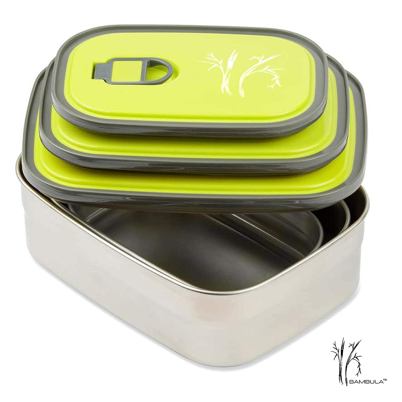 Bento Lunch Box acero inoxidable alimentos contenedores Set de 3/a prueba de fugas con tapa sin BPA resistente se puede lavar en lavavajillas.