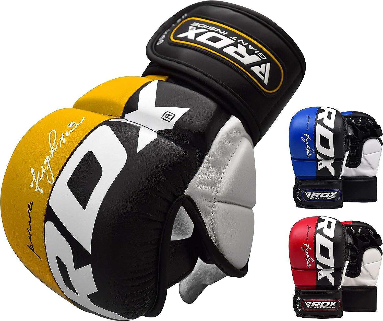 RDX Maya Cuero Guantes Boxeo Saco Sparring Entrenamiento Mitones Muay Thai Kick Boxing: Amazon.es: Deportes y aire libre