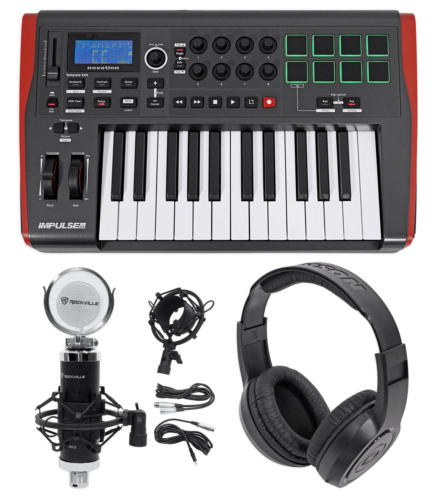 Novation IMPULSE 25 Ableton Live 25-Key USB Keyboard Controller+Mic+Headphones by Novation