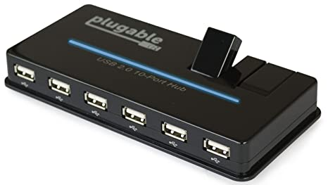 Plugable USB Hub, 10 Port - USB 2 0 with 20W Power Adapter and Two Flip-Up  Ports