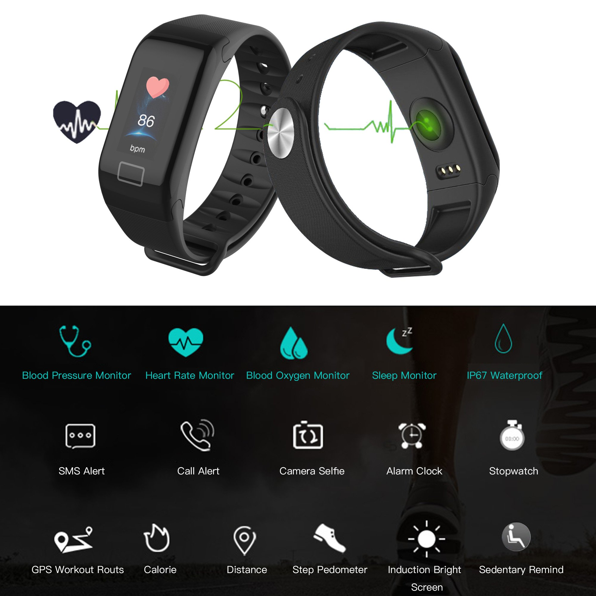 Cocofit Fitness Tracker Watch,Smart Band,Heart Rate Monitor Activity Tracker,IP67 Waterproof Smart Wristband,Pedometer Watch with Blood Pressure Monitor Sleep Monitor,Step Calorie Distance Counter
