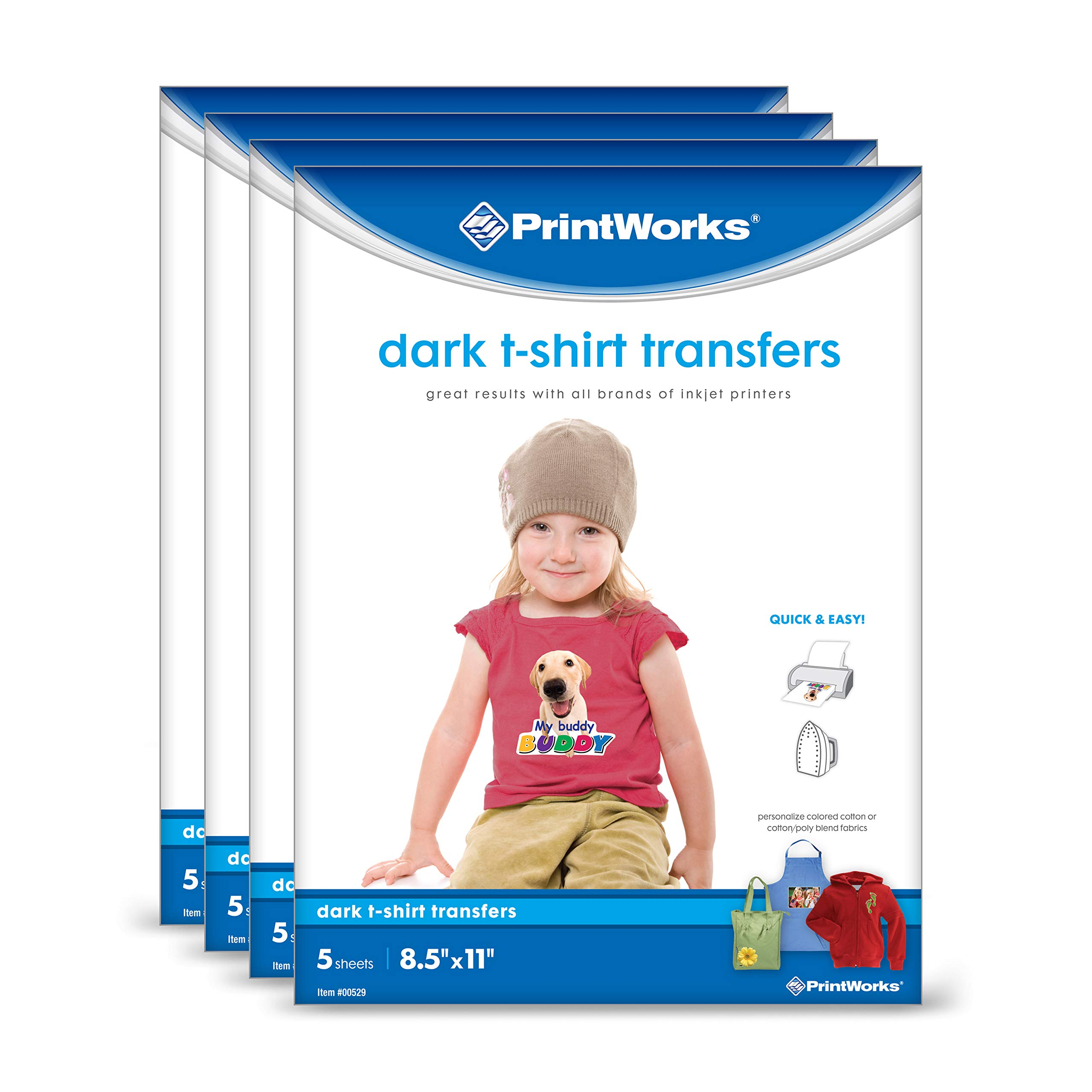 """Printworks Dark T-Shirt Transfers for Inkjet Printers, For Use on Dark and Light/White Fabrics, Photo Quality Prints, 20 Sheets,(4-pack Bundle) 8 ½"""" x 11"""" (00545)"""