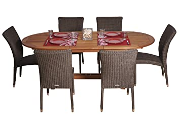 Amazon.com : Amazonia Lemans 7-Piece Dining Set : Outdoor And Patio ...