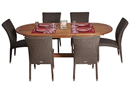 Superb Amazon Com Amazonia Lemans 7 Piece Dining Set Outdoor Pdpeps Interior Chair Design Pdpepsorg