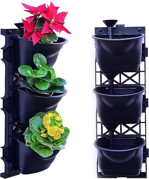 UPP® macetas Verticales, jardín Vertical con riego Integrado I Juego Completo de Pared I Sistema de macetas Vertical con riego automático I Set de Inicio (2x3 macetas): Amazon.es: Jardín
