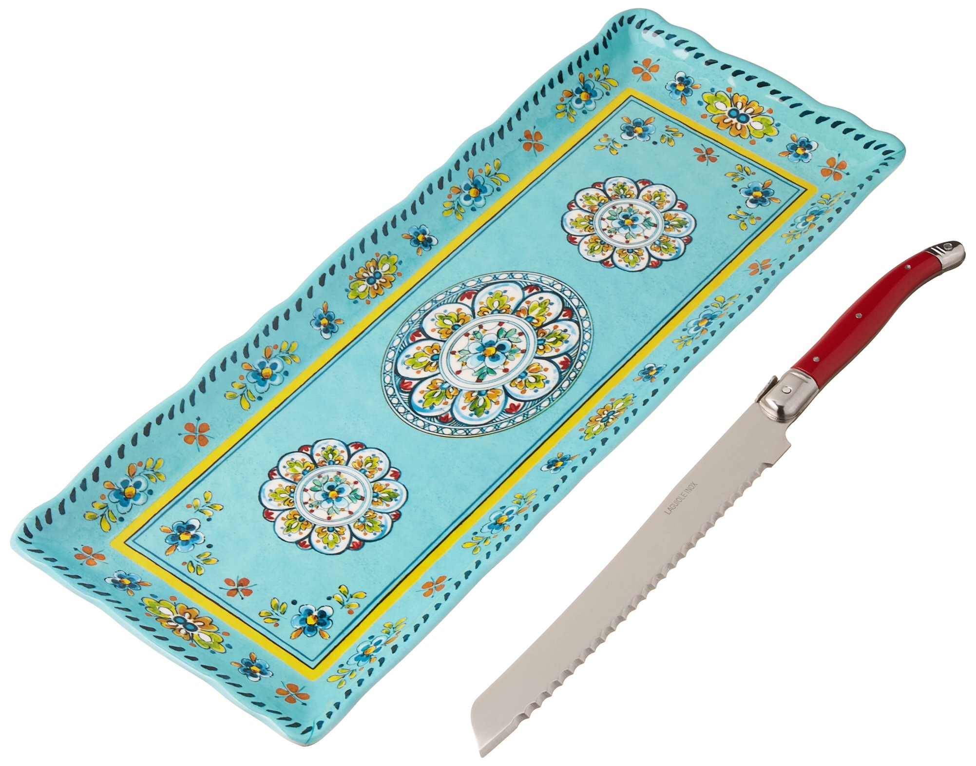 Le Cadeaux Madrid Melamine Baguette Tray and Laguiole Bread Knife Gift Set, Turquoise