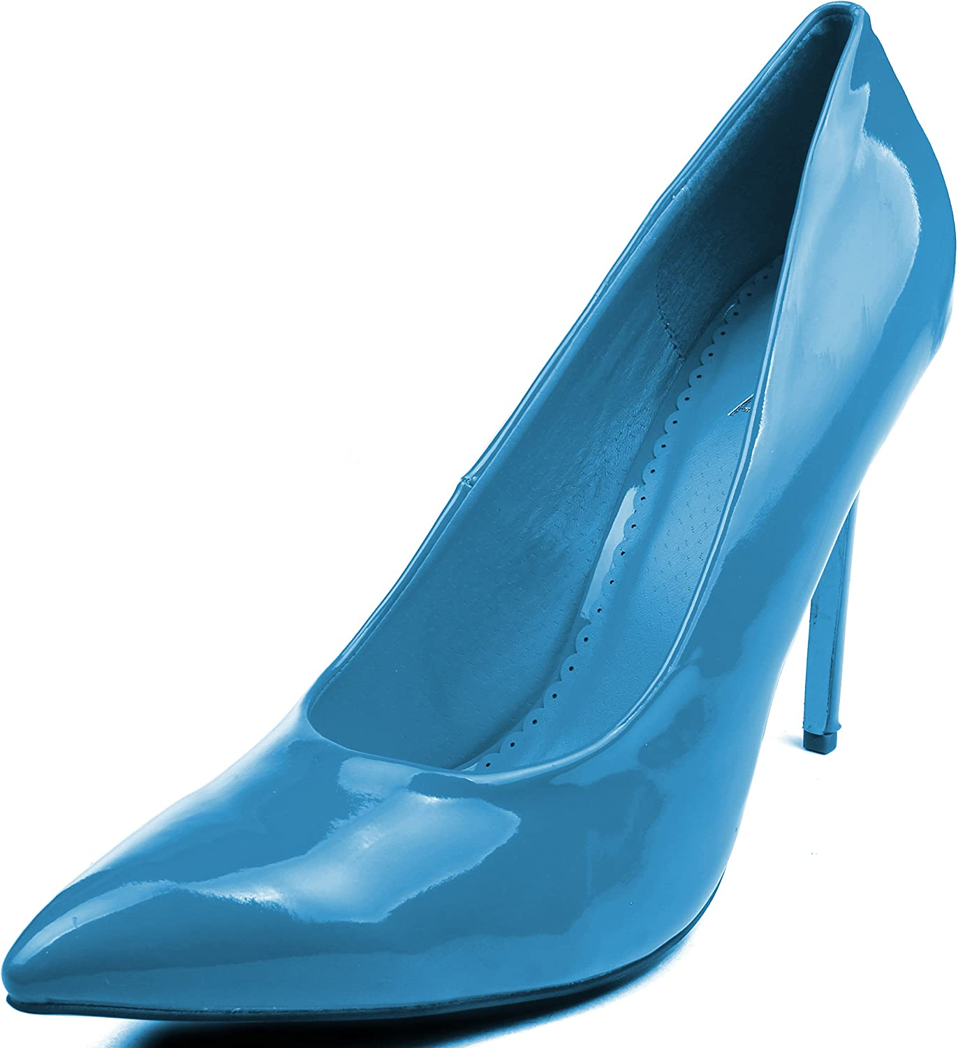 Enimay Womens 5 Inch Heel Microfiber Patent Leather Closed Toe Dress Pumps