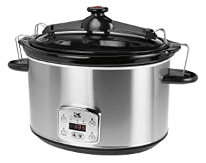 Kalorik 8 Quart Slow Cooker, Digital Programmable Oval Cook and Carry, Stainless Steel