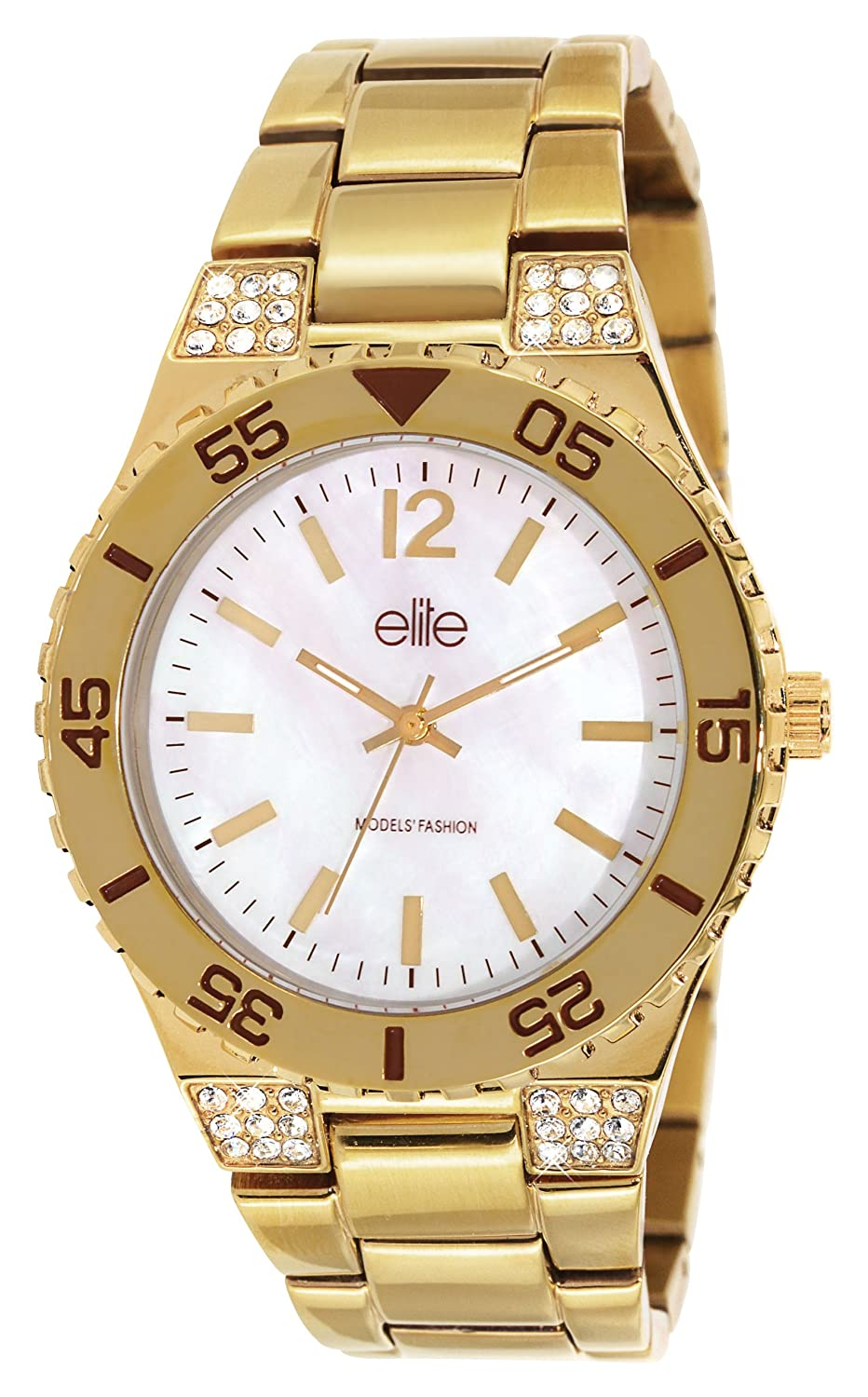 Elite Models 'Fashion – e53244g-101 Damen-Armbanduhr 045J699 Analog weiß Armband Stahl Gold