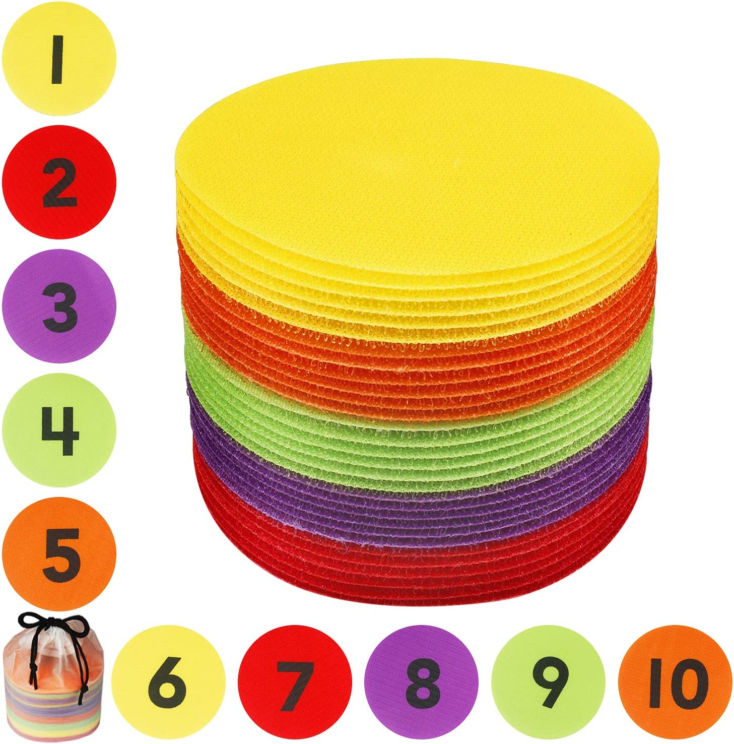 5 Colors Training and Drills LuBanSir Spot Markers 4 Inch Pack of 40 Colored Floor Circles Marker Dots with Partial Number Symbols for Kids Teacher Making up Games