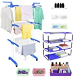 TRENDY Jumbo Cloth Drying Stand Combo with Shoe Rack, 2 Organizer, 2 Fridge Organizers, 2 Soap Stands and 1 Shelf