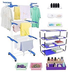 TRENDY Jumbo Cloth Drying Stand Combo with Shoe Rack, 2...