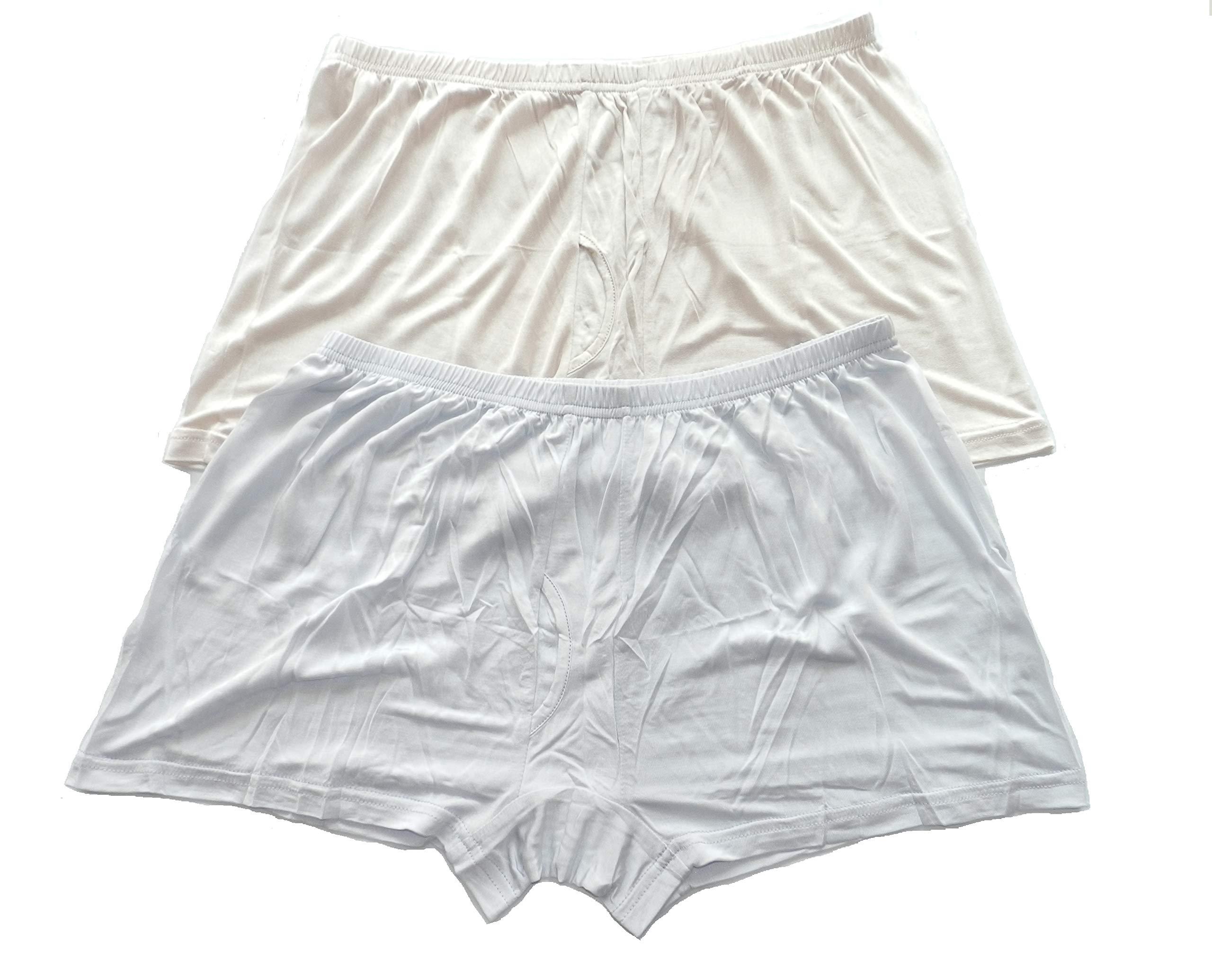 1475d40c18d1 Qianya Men's Silk Underwear Boxer Silk Briefs 100% Silk Knit 2 Pairs in One  Economic Pack (3XL)