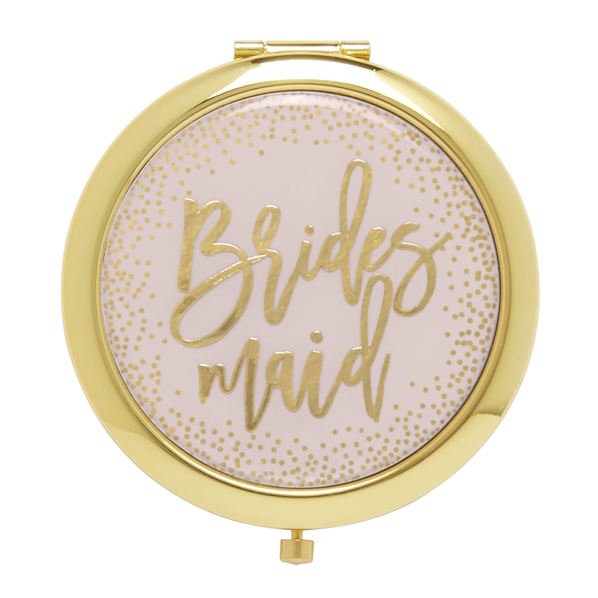 C.R. Gibson Pink and Gold Bridesmaid Pocket Compact Mirror Gift, 1 Pound