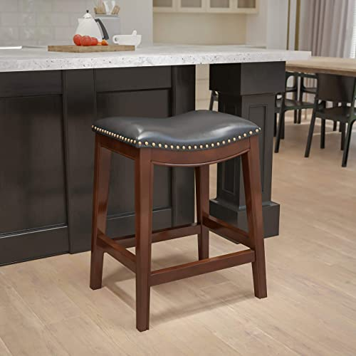 Flash Furniture 26'' High Backless Cappuccino Wood Counter Height Black Leather Saddle Seat 26″ No Back Stool