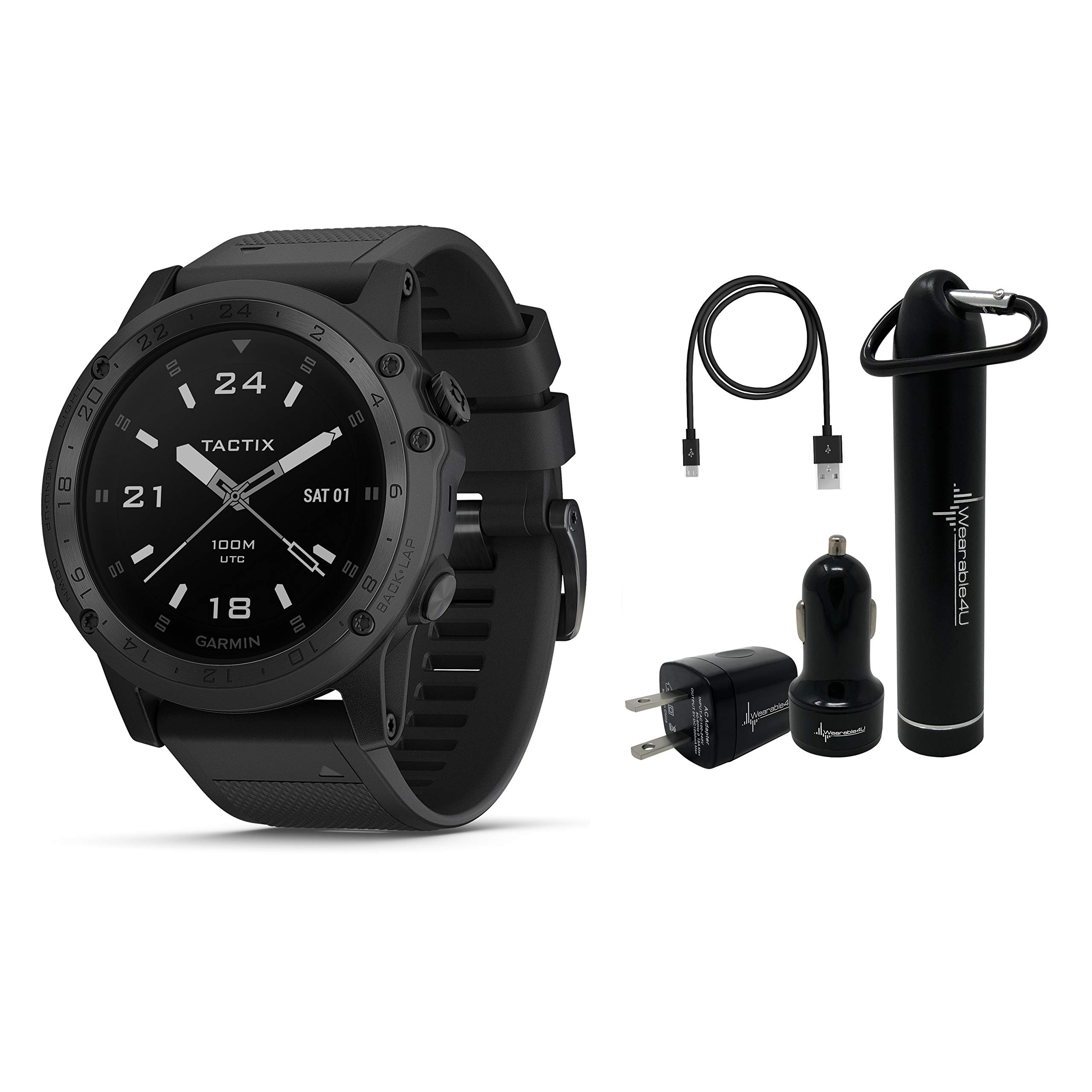 Garmin Tactix Charlie Premium Tactical GPS Watch with TOPO Maps and Wearable4U Ultimate Power Pack Bundle by Wearable4u