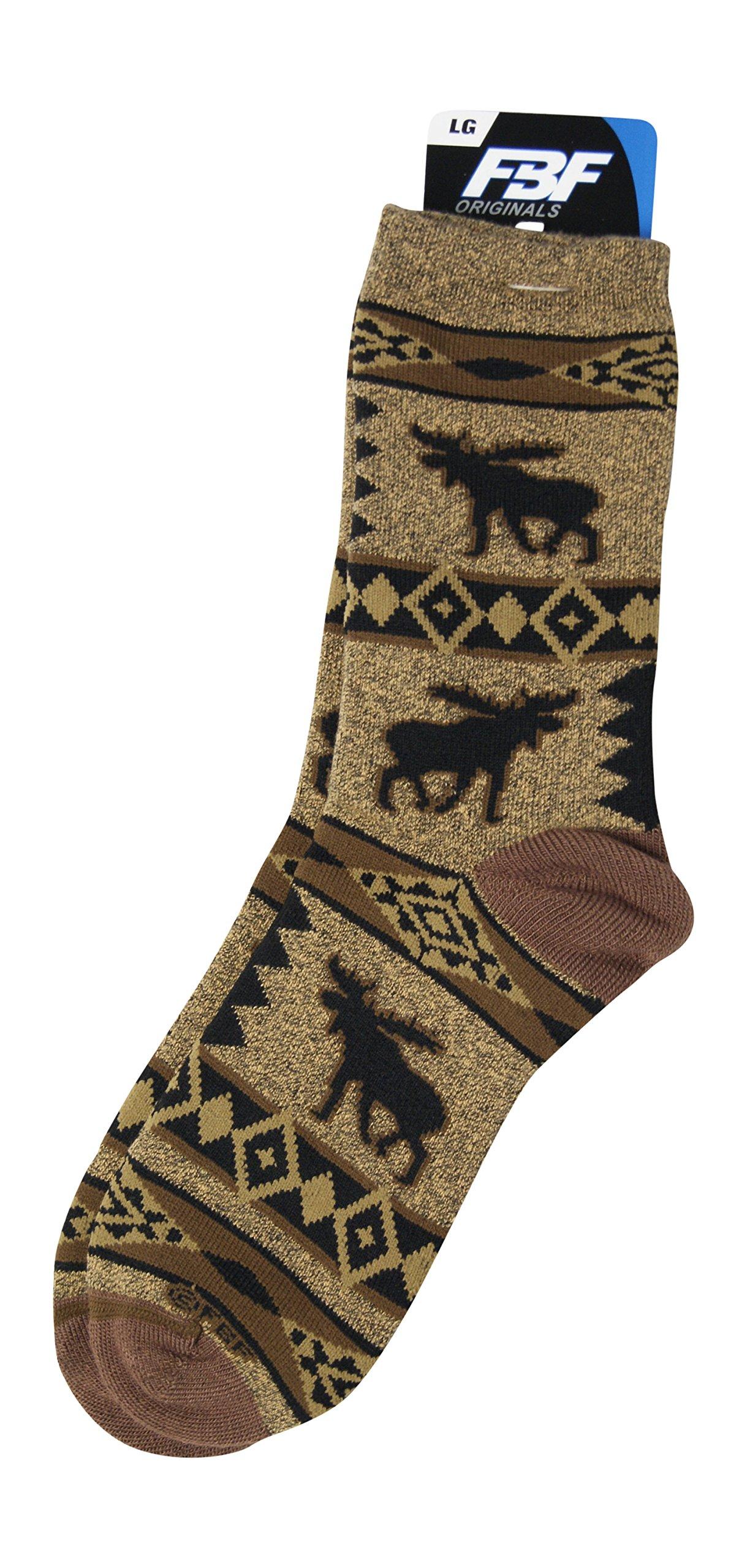For Bare Men's LG Moose Blanket Motif Sock Bronze