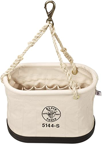 Klein Tools 5144S Heavy-Duty Oval No. 6 Canvas Bucket with 15 Interior Pockets and Rope Tripod Suspension