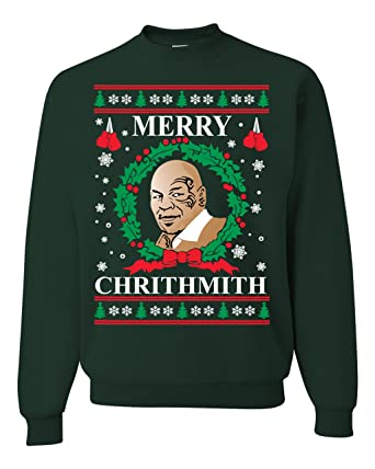 Mike Tyson Merry Christmas.Mike Tyson Merry Chirithmith Ugly Christmas Sweater Unisex Sweatshirts Forest Green