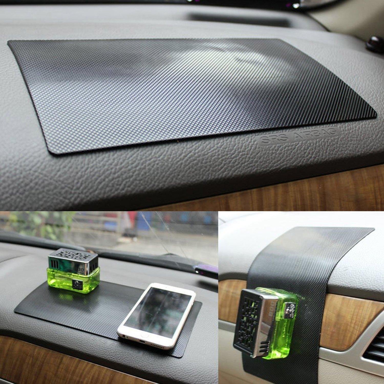 HICYCT Tapis de voiture autocollant antidé rapant - Silicone Tapis Collant Anti-Derapant / Anti-Glisse pour Tenir Telephone, Monnaie.. pour Tableau de bord voiture (Lignes 270*150mm)
