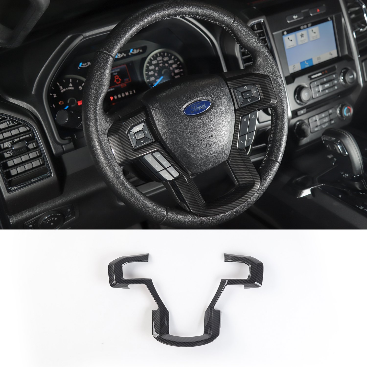 Voodonala Carbon Fiber Grain Steering Wheel Bezel Decorative Trim For 2015 2016 2017 Ford F150 F250 F350 Super Duty