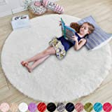White Round Rug for Bedroom,Fluffy Circle Rug 4'X4' for Kids Room,Furry Carpet for Teen's Room,Shaggy Circular Rug for Nurser