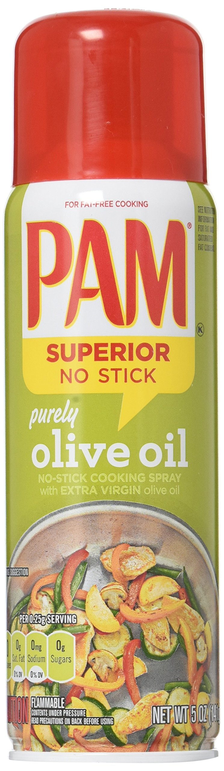 Pam No-Stick Cooking Spray - Purely Olive Oil - Superior No Stick With Extra Virgin Olive Oil - Net Wt. 5 OZ (141 g) Each - Pack of 2