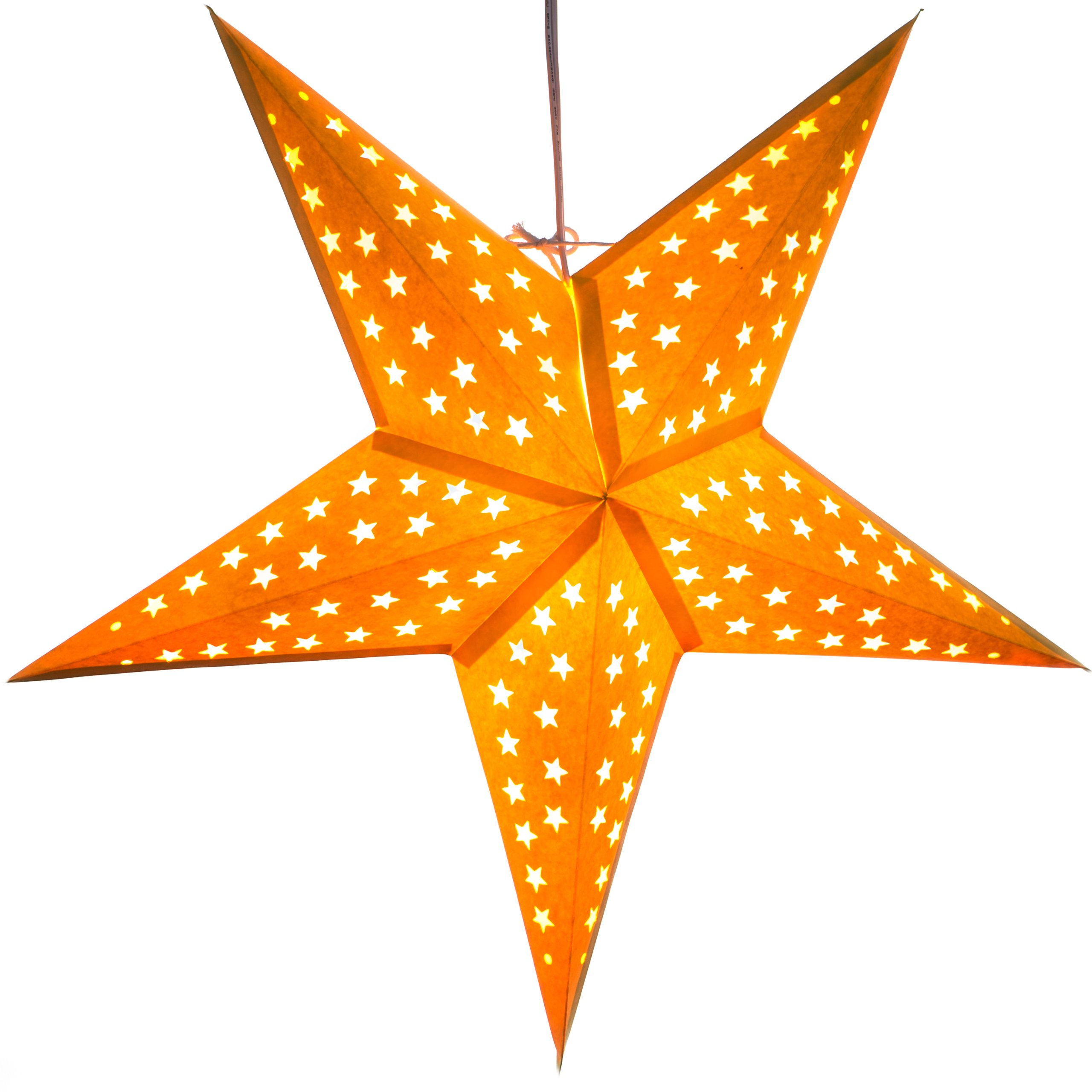 Paper Star Light Lamp Lantern with 12 Foot Power Cord Included (Yellow)