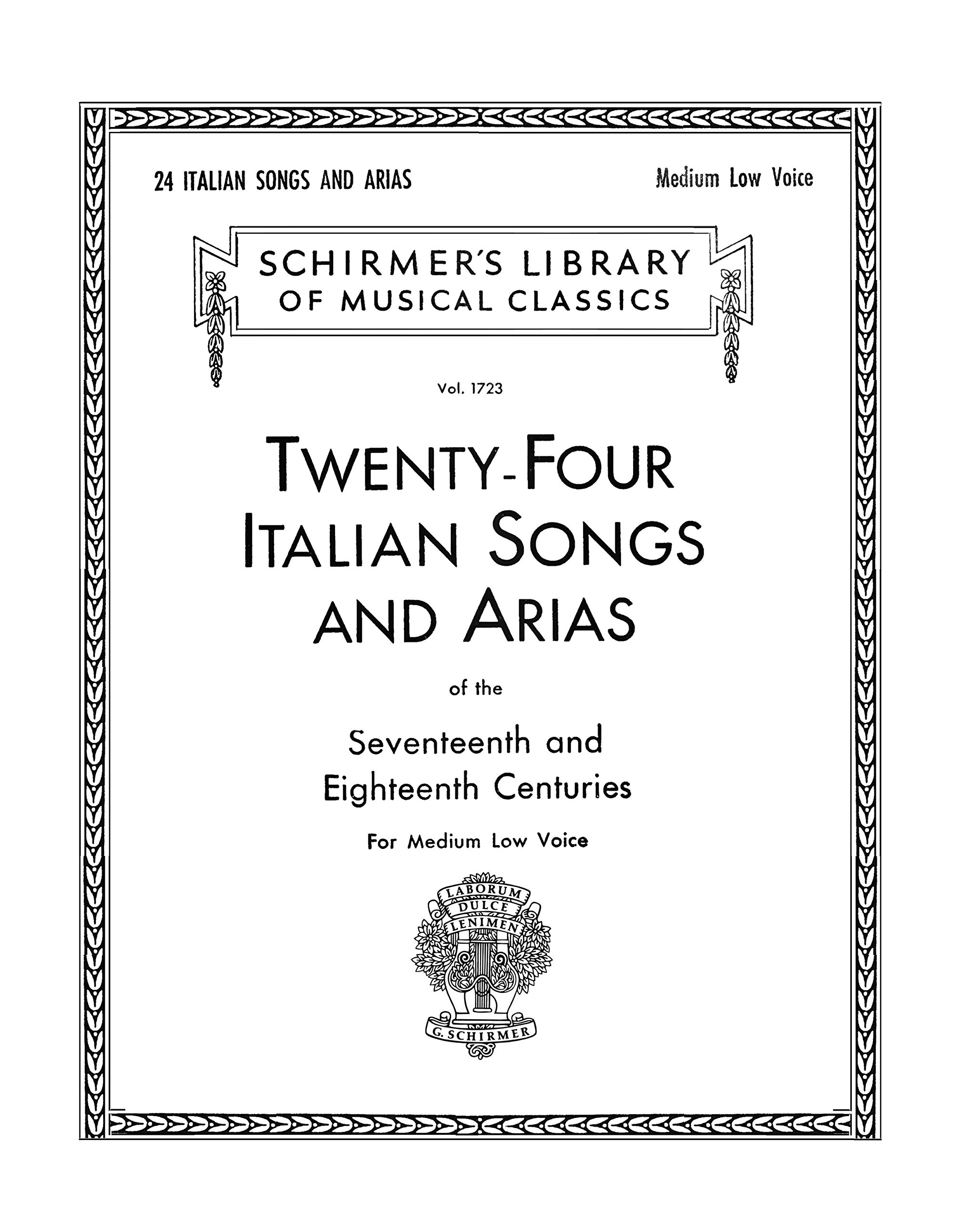 Download Twenty-four Italian songs and arias of the seventeenth and eighteenth centuries, for medium low voice (Student Facsimile) PDF